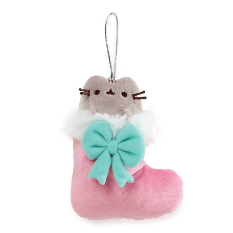 "Pusheen Cat Plush Pink Stocking Christmas Ornament - 4.5"" - Gund"