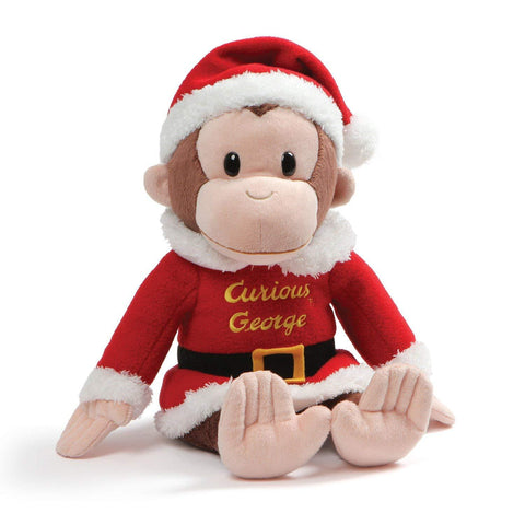 "Curious George Santa Claus Monkey Stuffed Animal - 13.5"" - Gund"