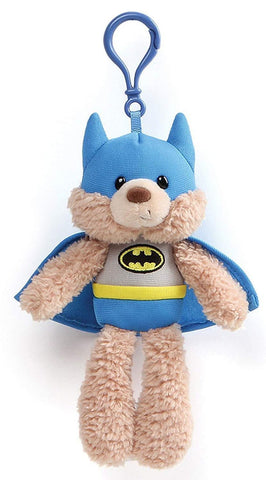 "Batman Fuzzy Teddy Bear Backpack Clip - 6.5"" - Gund"