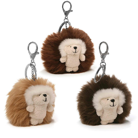 "Ganley the Hedgehog Poof Backpack Clip / Keychain - 3"" - Gund"