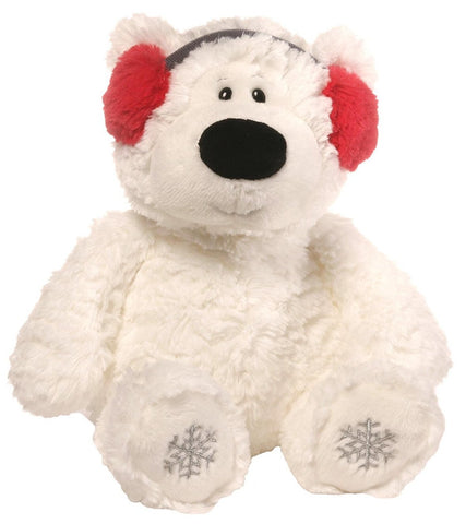 "Blizzard the Winter Holiday Polar Bear with Earmuffs Small - 12"" - Gund"