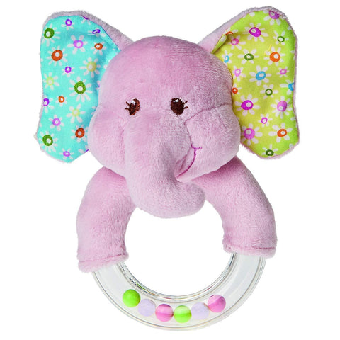 "Ella Bella Pink Elephant Ring Rattle - 5"" - Mary Meyer Baby"