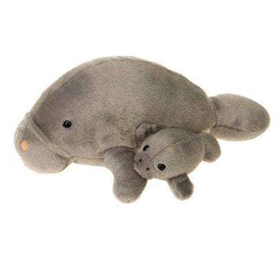 "Mama Plush Manatee with Baby - 11"" - Fiesta"