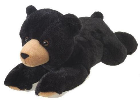 "Laydown Plush Black Bear Medium - 12"" - Fiesta"