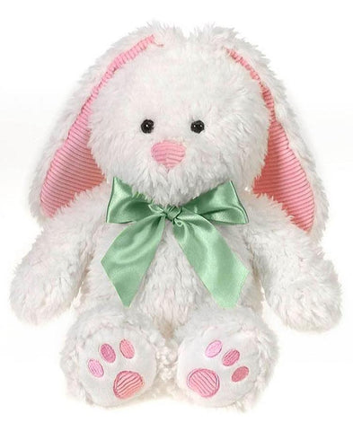 "Scruffy the White Easter Bunny with Green Ribbon and Pink Accents - 15"" - Fiesta"