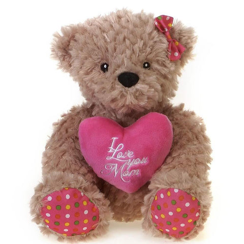 "Mother's Day ""I Love you Mom"" Teddy Bear with Pink Heart  - 9.5"" - Fiesta"