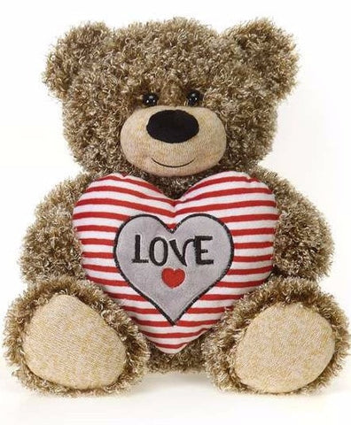"Valentine's Day Curly Fur Teddy Bear with Striped Heart - 10.5"" - Fiesta"