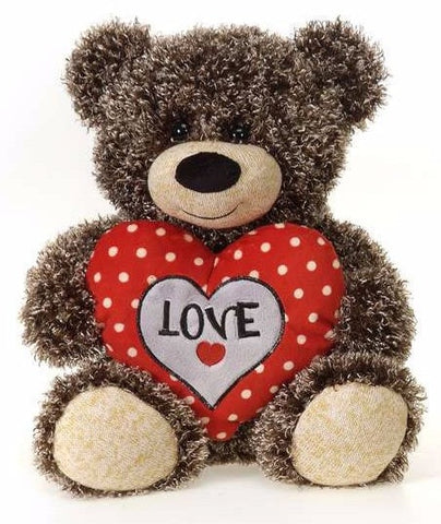 "Valentine's Day Curly Fur Teddy Bear with Polka Dot Heart - 10.5"" - Fiesta"
