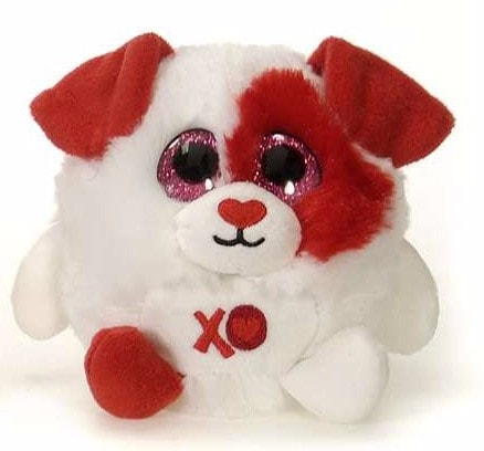 "Lubby Cubbies Valentine's Day Red & White Dog - 4"" - Fiesta"