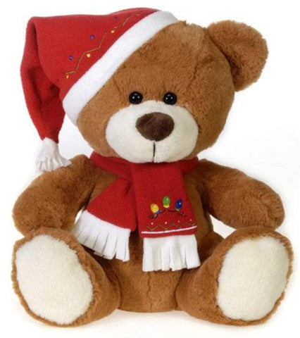 "Brown Christmas Teddy Bear with Red Hat & Scarf - 12"" - Fiesta"