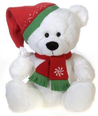 "White Christmas Teddy Bear with Red Hat & Scarf - 12"" - Fiesta"