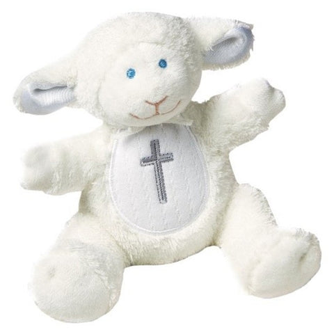 "Christening Lamb Rattle - 5"" - Mary Meyer Baby - Plush Friends"