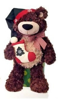 "Cuddle Christmas Teddy Bear with Stocking - 18"" - Fiesta - Plush Friends"