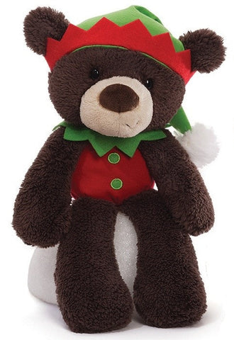 "Gund Fuzzy Chocolate Brown Elf Christmas Teddy Bear - 13.5"" - Gund - Plush Friends"