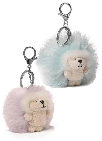 "Ganley the Hedgehog Brights Poof Backpack Clip / Keychain - 3"" - Gund"