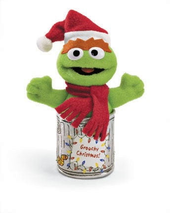 "Holiday Oscar the Grouch Sesame Street Mini Plush - 4"" - Gund - Plush Friends"