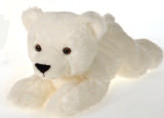 "Laydown Plush Polar Bear Medium - 12"" - Fiesta - Plush Friends"