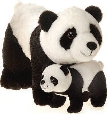 "Mama Plush Panda Bear with Baby - 12"" - Fiesta - Plush Friends"