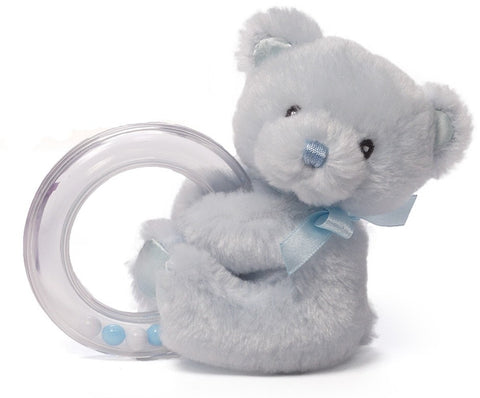 "My First Teddy Bear Blue Ring Rattle - 4"" - Baby Gund - Plush Friends"