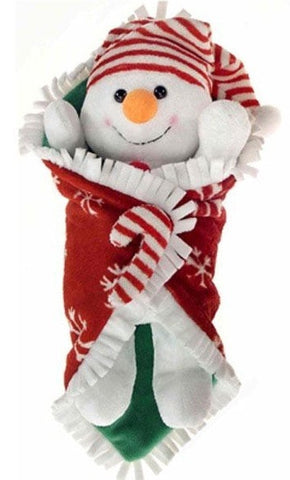 "Plush Snowman Blanket Baby - 10.5"" - Fiesta - Plush Friends"