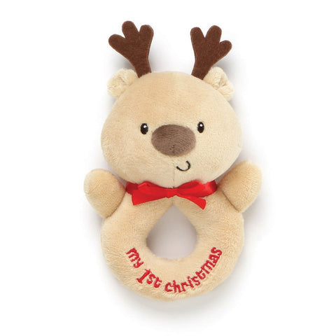 "Reindeer My 1st Christmas Plush Ring Rattle - 6"" - Baby Gund"