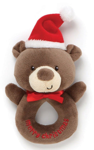 "Santa Bear My 1st Christmas Plush Ring Rattle - 6"" - Baby Gund"