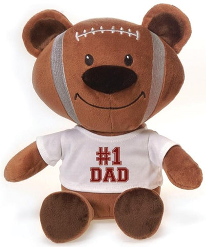 "Plush Football Bear wearing #1 Dad Shirt - 12"" - Fiesta"