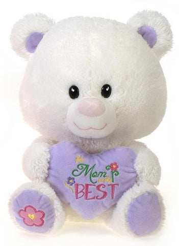 "Mother's Day ""Mom is the Best"" White Teddy Bear  - 11"" - Fiesta"
