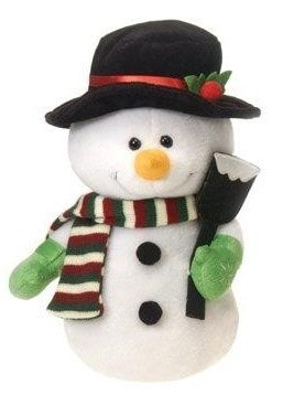 "Stuffed Snowman Holding Shovel - 11.5"" - Fiesta - Plush Friends"