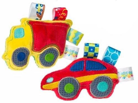 "Taggies Wheelies Soft Vehicle Rattles - 5"" - Mary Meyer Baby - Plush Friends"