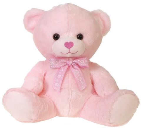Pink Valentine's Day Teddy Bear with Heart Ribbon - 11.5