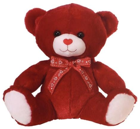 "Red Valentine's Day Teddy Bear with Heart Ribbon - 11.5"" - Fiesta"