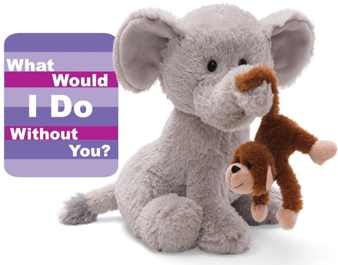 "What Would I Do Without You Elephant with Monkey - 9.5"" - Gund Greetings - Plush Friends"
