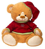 "Sitting Teddy Bear with Christmas Sweater & Hat - 16"" - Fiesta"