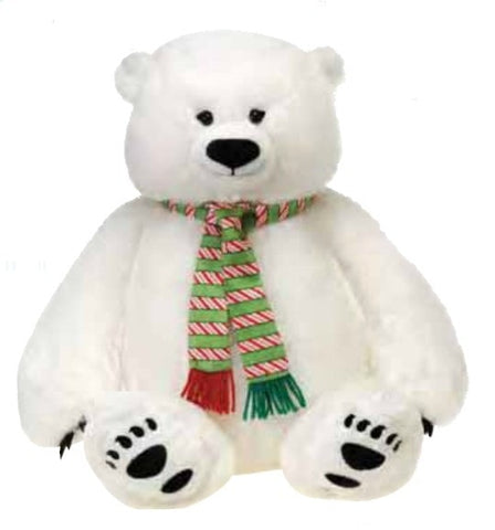 "Sitting Christmas Polar Bear with Scarf- 16"" - Fiesta"