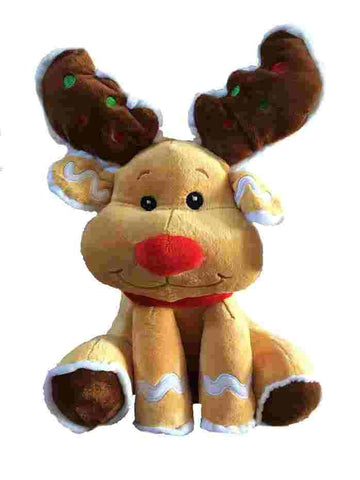 "Sitting Reindeer with Red Nose Stuffed Animal - 15"" - Fiesta"