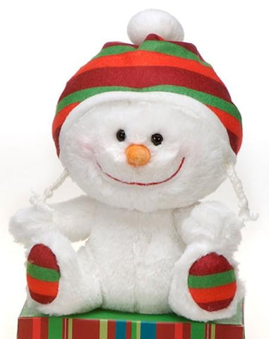 "Winter Sitting Snowman Stuffed Animal with Red & Green Hat - 8"" - Fiesta"