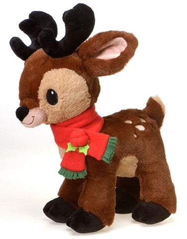 "Christmas Reindeer Dark Brown Stuffed Animal with Red Holly Scarf - 13"" - Fiesta"
