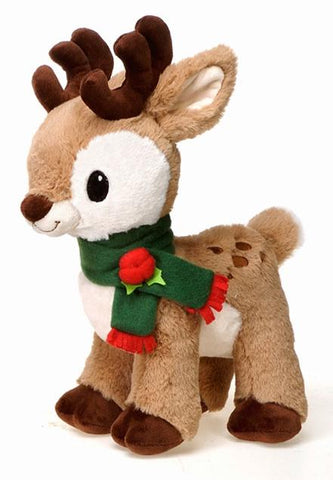 "Christmas Reindeer Light Brown Stuffed Animal with Green Holly Scarf - 13"" - Fiesta"