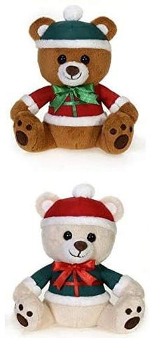 "Mini Plush Santa Teddy Bears - 5.5"" - Fiesta"