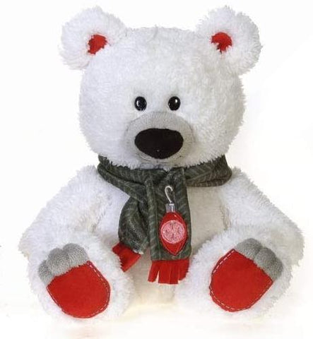 "White Holiday Teddy Bear with Green Scarf - 10"" - Fiesta"