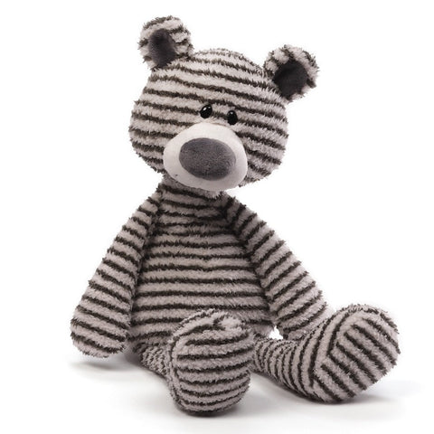 "Zag Gray & White Stripe Teddy Bear - 15.5"" - Gund - Plush Friends"