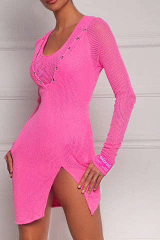 Rich Pink Henley Dress