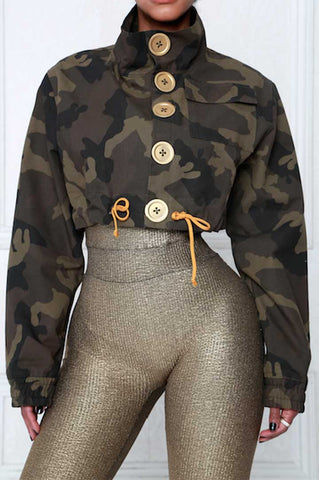 Camo Military Cropped Jacket