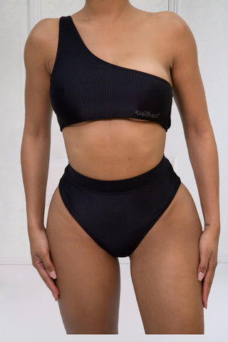 RIBBED HIGH WAIST BIKINI BOTTOMS