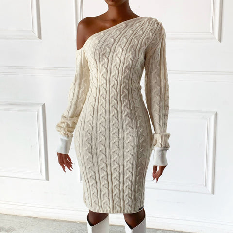 Cream R2 Cable Knit Dress