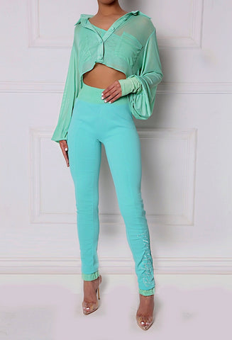 Mint Night Crop Blouson Top