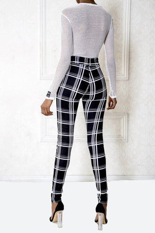 Plaid High-Waist Leggings