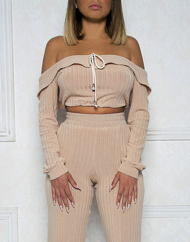Blushing Rosè Off The Shoulder Oversized Ribbed Crop Top