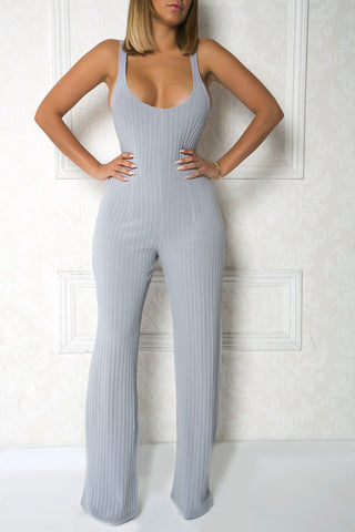 Stone Oversized Ribbed Jumpsuit
